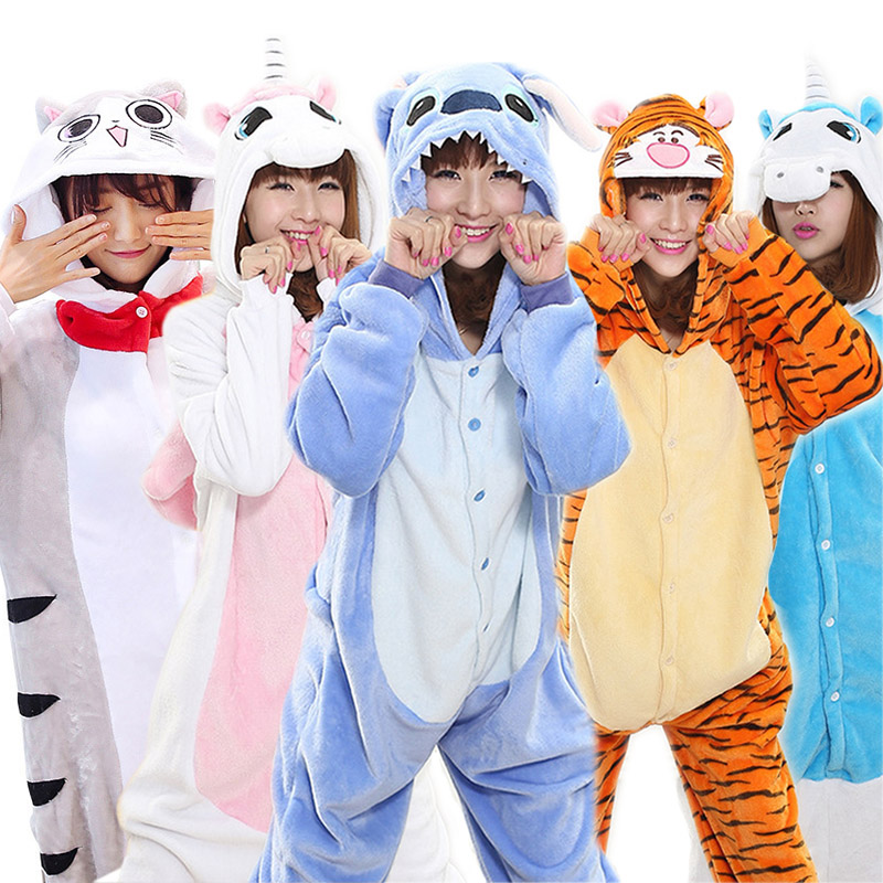 Women Pajamas Onesies Hooded Flannel Animal Costume Cosplay Unisex Pyjamas Stitch Unicorn Panda Pegasus Pikachu Women Sleepwear