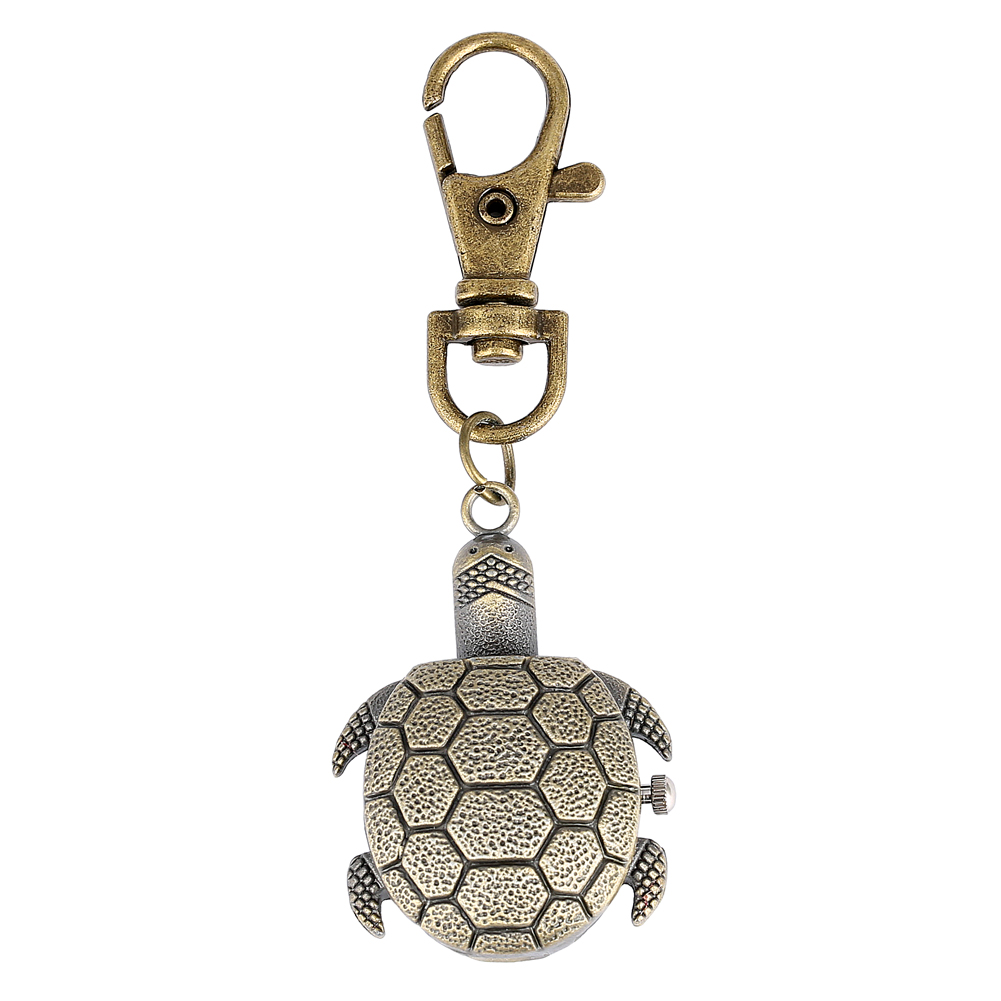 Tortoise Watch Key Chain Bronze Case Pocket Watches For Men General White Dial Accessory Women Relojes De Bolsillo Para Hombre