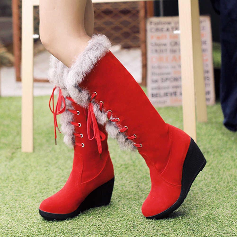 BONJOMARISA ใหม่ Elegant สูง Wedges รองเท้าผู้หญิงฤดูหนาว WARM เข่า-สูงหิมะรองเท้าผู้หญิง 2019 รองเท้าแพลตฟอร์มรองเท้าผู้หญิง