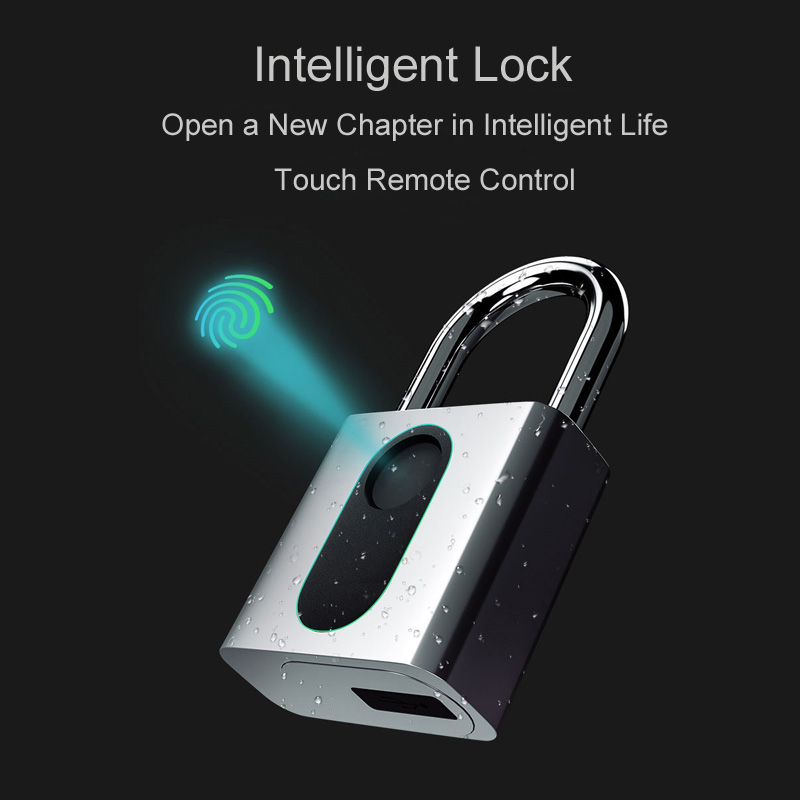JPT Security Fingerprint Smart Padlock Keyless USB Rechargeable 1 Second Quick Unlock Portable Anti-Theft Fingerprint Lock