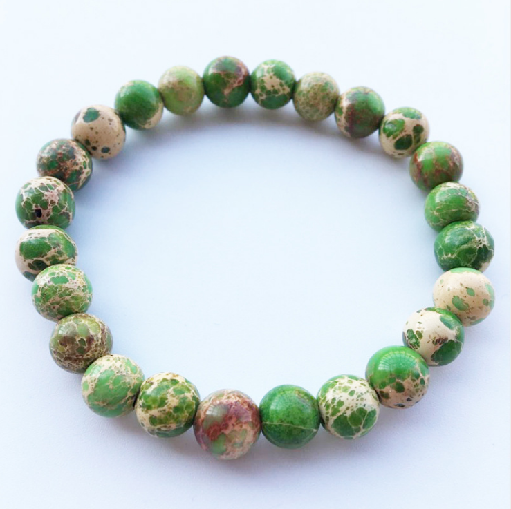 Charm Beaded Bracelets Green King Stone For Men Vintage Jewelry