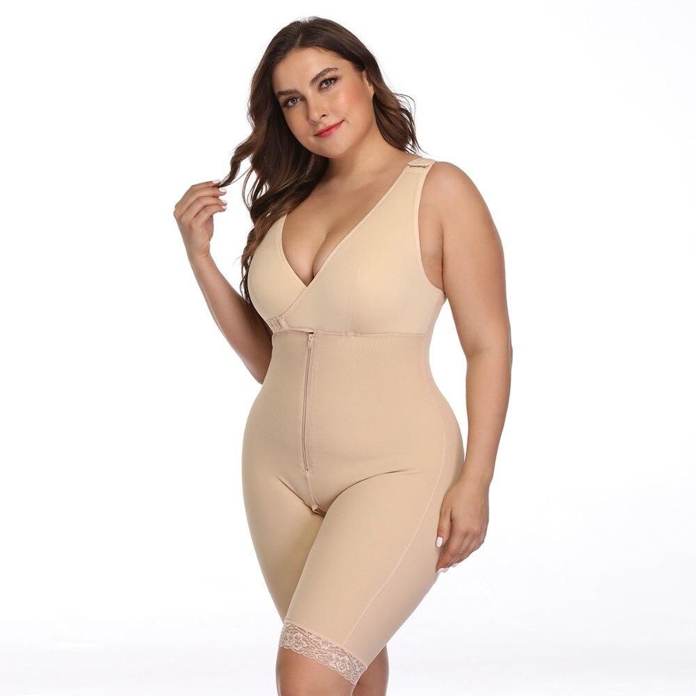 Women's Open Crotch Body Shaper Tummy Control Underwear Black Beige Plus Size 6XL Bodysuit Deep V Overbust Adjustable Shapewear (19)