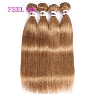 FEEL ME самых светлых тонов, прямые и вьющиеся волосы, натуральные пряди пре-Цветной человеческие волосы плетение 3/4 пряди сделка #27 Мёд волосы ...