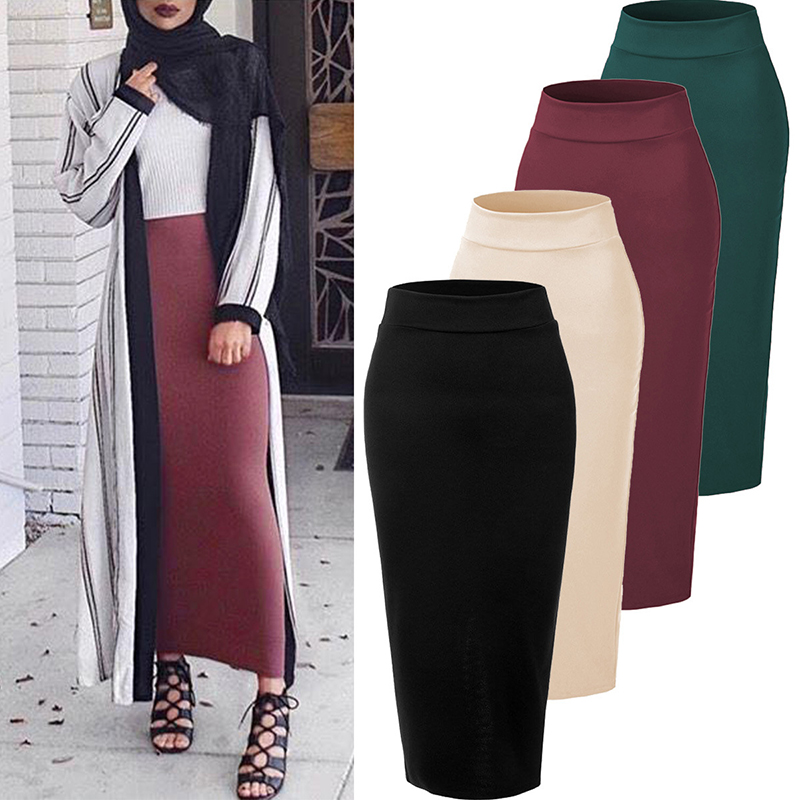 Plus Size Faldas Mujer Moda 2019 Winter Abaya Muslim Long Skirts Womens High Waist Bodycon Maxi Skirt Jupe Longue Femme Clothes