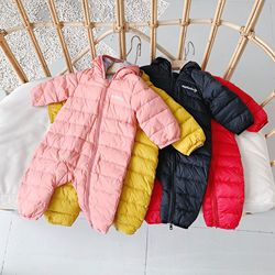 WLG baby boys girls winter rompers kids thick zipper hooded long sleeve pink yellow red black romper toddler caual clothes