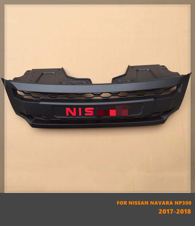 Good Quality ABS Front Middle Grill Racing Grills With LED Lights Fit For Nissan Navara NP300 2017 2018