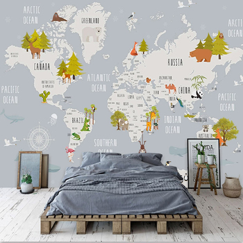Custom Photo Wallpaper Cartoon World Map Children Room Bedroom Background Wall Home Decoration Wall Mural De Parede 3D Wallpaper custom 3d mural children room wallpaper bedroom background wall mural cartoon candy cake shop wallpaper mural