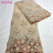 Lace-Fabric XIUYSAI African Dress Beads French-Net Handmade Embroidered Gold High-Quality