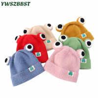 Gorro de bebé de invierno con rana de dibujos animados de punto cálido sombreros para bebé niña niños gorras para niños sombrero bebé sombrero gorras fit 1 a 4 años de edad