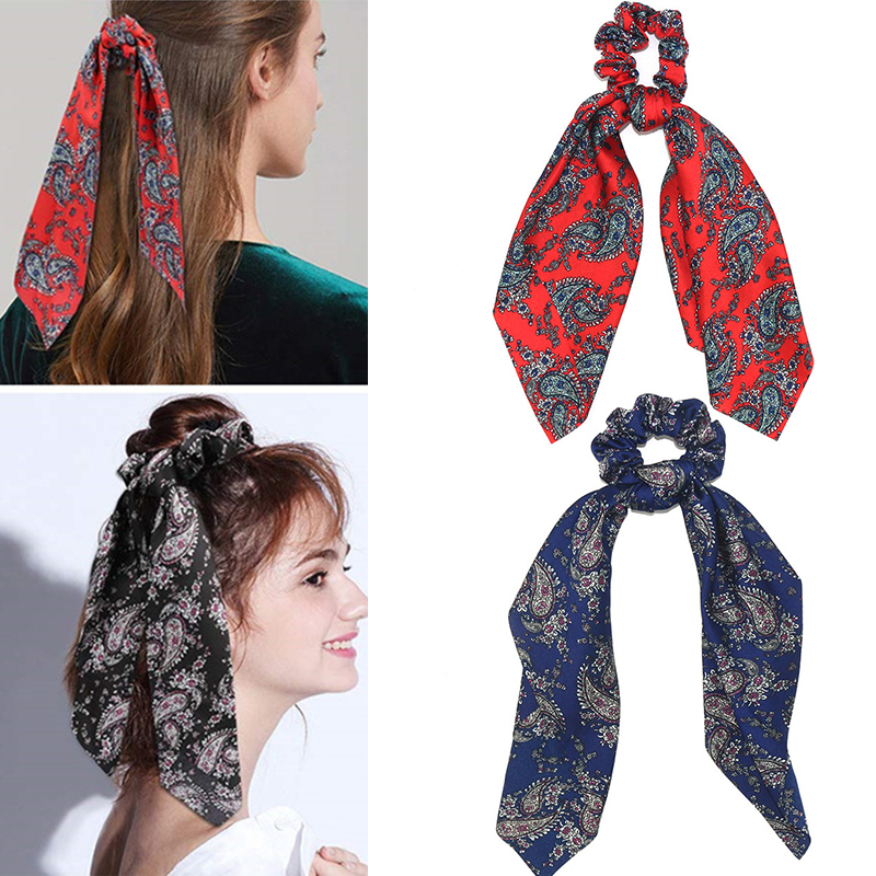 New Fashion Summer Ponytail Scarf Elastic Hair Holder For Women Bow Ties Scrunchies Hair Bands Flower Print Ribbon Hairbands