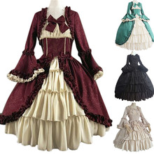 Fashion Women Dress Vintage Gothic Court Square Collar Patchwork Bow