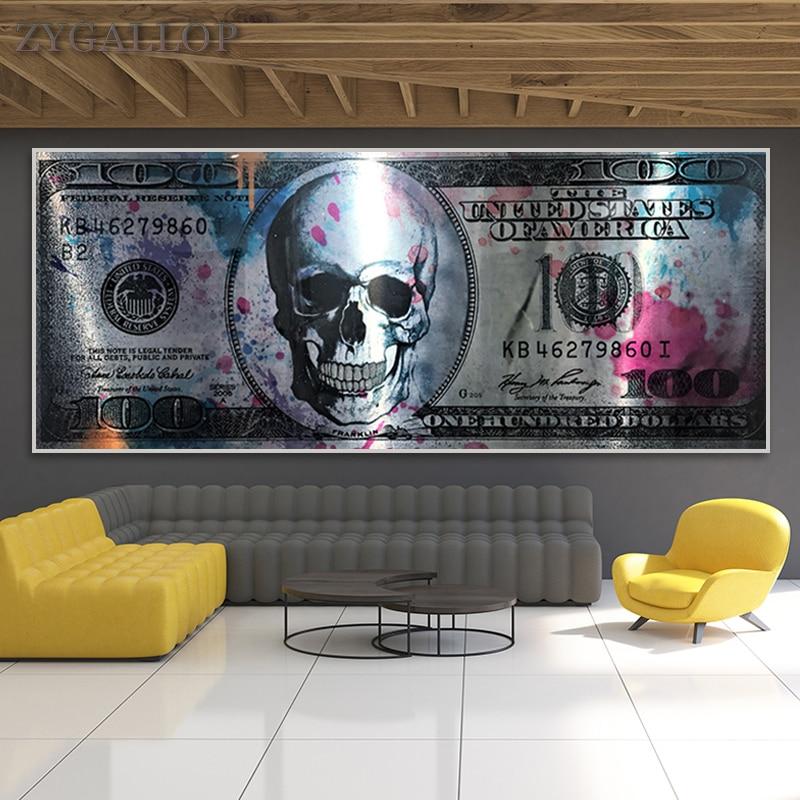 Crâne Dollar argent Art toile affiches et impressions 100 Dollars mur photos moderne créatif toile peinture pour salon décor