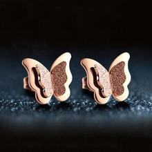 Exquisite Ear Studs Fashion Rose Gold Matte Butterfly Earrings Ladies Titanium Steel Stud