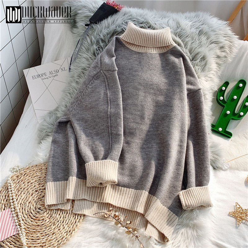 Duckwaver Women Sweaters 2020 Autumn Winter Cashmere Knitted Female Turtleneck Sweater Casual Thin Pullover Tricot Jersey Jumper