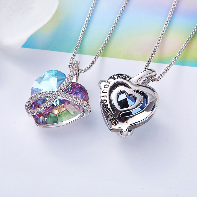 Image 3 - Cdyle Romantic Jewelry LOVE YOU FOREVER Bermuda Blue Crystal Heart Pendant Necklace with Pave Zircon for Her Birthday GiftPendant Necklaces   -