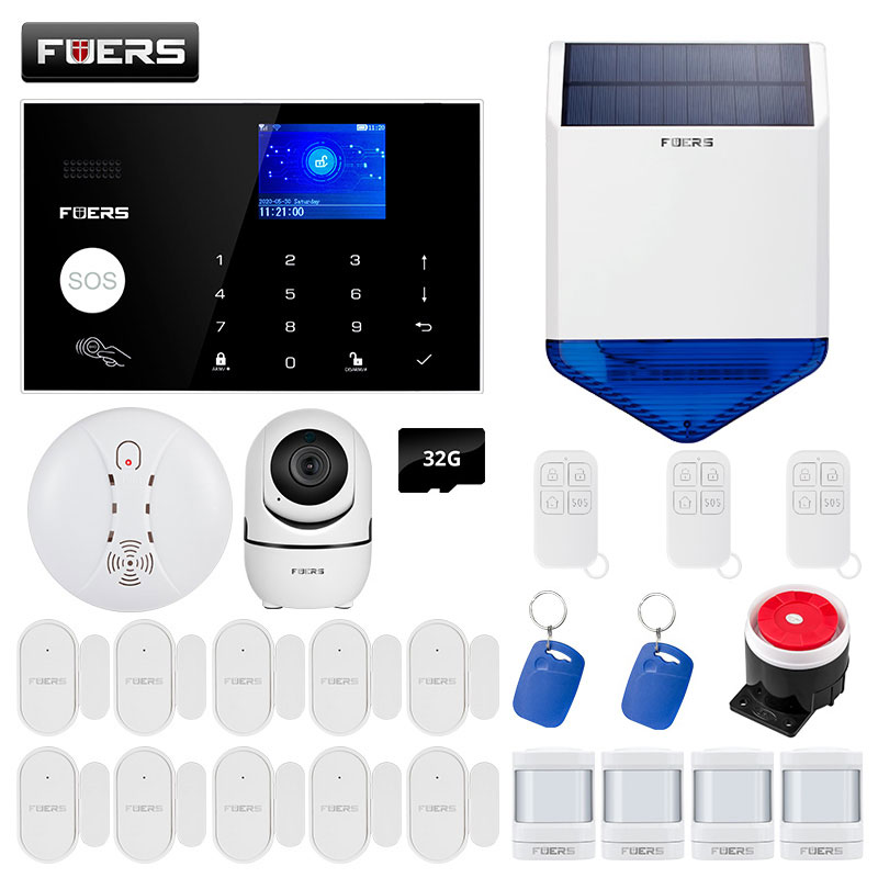 FUERS New Arrivals 4G GSM WIFI Alarm System 2.4Inch Full Touch Color Screen Home Security Buglar Alarm System Tuya App Control