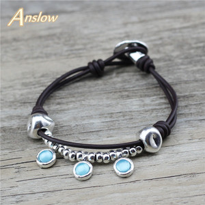 Anslow Vintage Retro Fashion Jewelry Bijoux Charms Handmade DIY Women Female Leather Bracelets Valentine Day Gift LOW0800LB