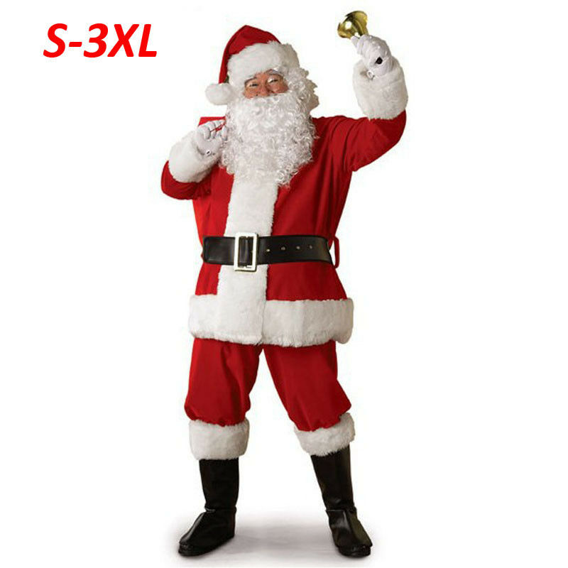 5PCS Sets Santa Claus Costume Christmas Party Clothes Fancy Adult Men Plush Coat +Pants+Belt+Hat+Moustache Suits Cosplay Outfits