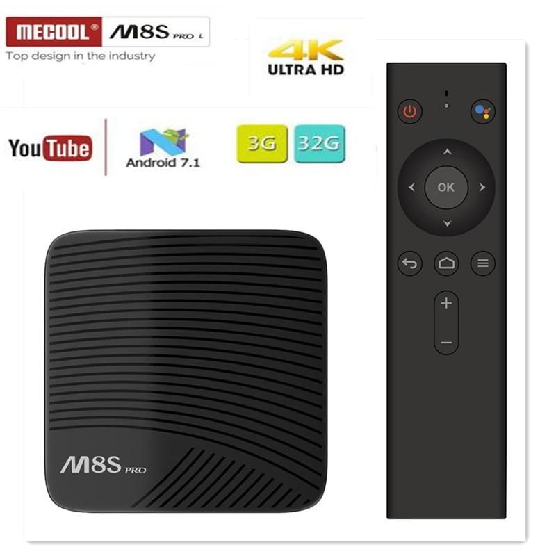 MECOOL M8S PRO L TV BOX Android 7.1 Amlogic S912 3GB 16GB 32G Bluetooth Set-Top Box Voice Control 3D 4K HD Smart Media Player