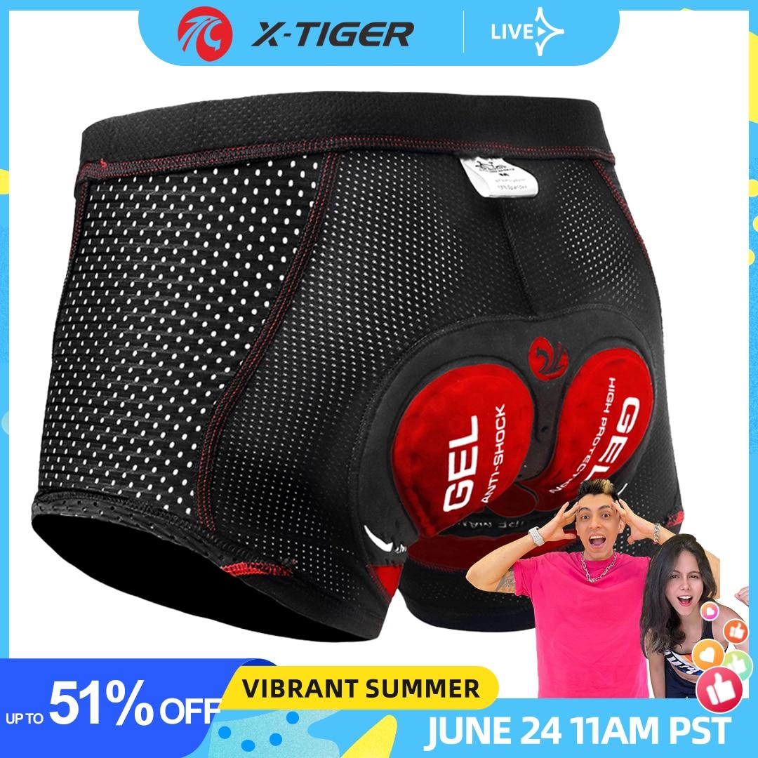 X-Tiger Upgrade Cycling Shorts Mesh Men's Cycling Underwear 5D Gel Pad Shockproof Cycling Underpant MTB Shorts Bike Underwear