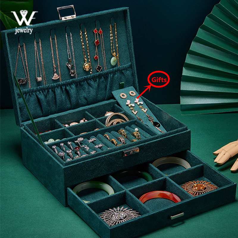 WE Green Blue Velvet Jewelry Box Storage Ring Display Case Portable Jewelry Organizer for Necklaces Joyeros Organizador De Joyas