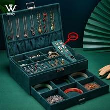WE zielony niebieski aksamitna biżuteria pudełko do przechowywania pierścień pojemnik przenośna biżuteria organizator dla naszyjniki Joyeros Organizador De Joyas