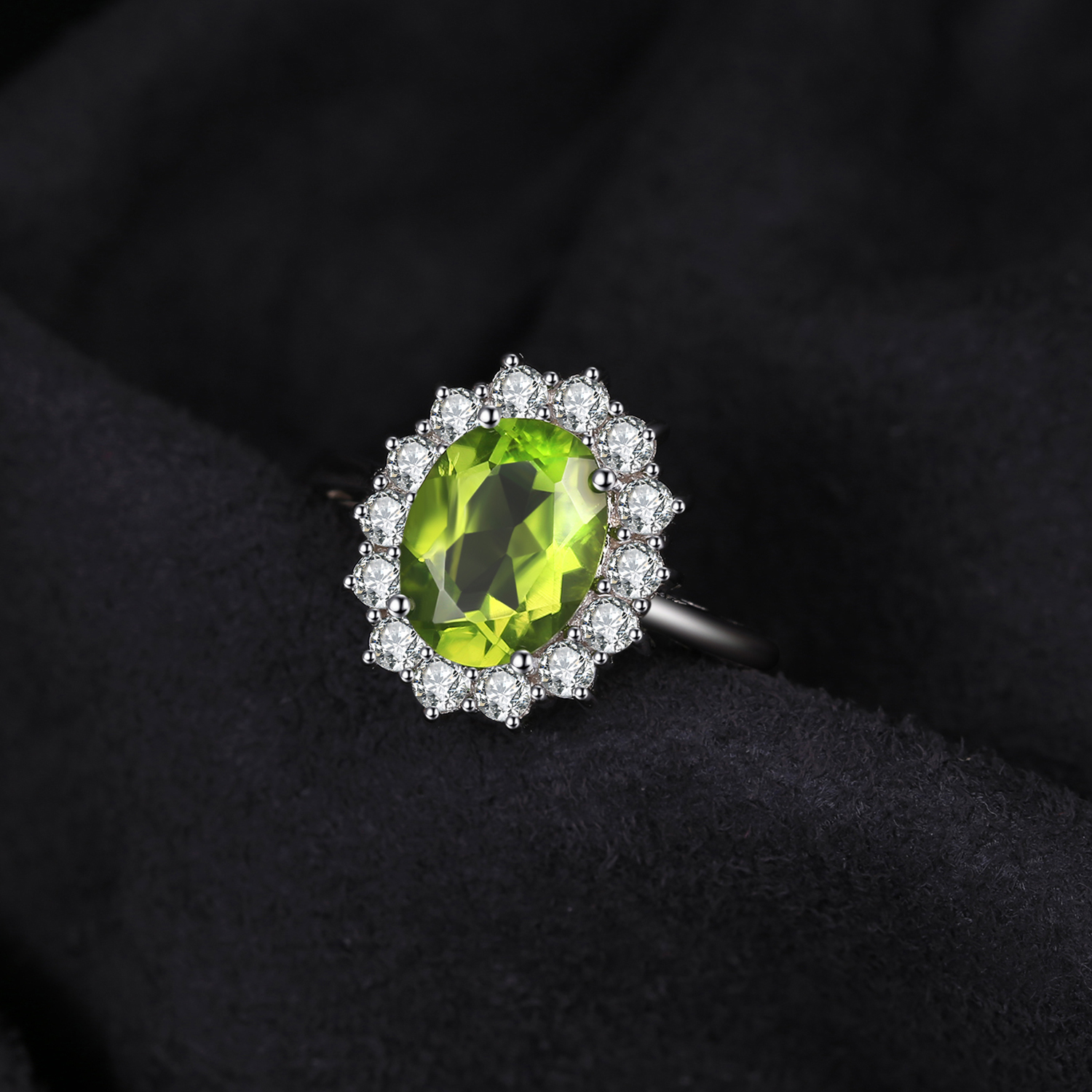 Image 2 - JewPalace Princess Diana Genuine Peridot Ring 925 Sterling Silver