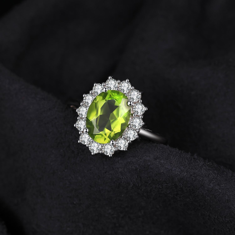 Image 2 - Jewelrypalace 2.74ct Принцесса Диана Уильям Кейт Миддлтон  Натуральный Зеленый Перидот Обручение кольцо стерлингового серебра 925  для Для женщинcharming piggift cameragift wallet