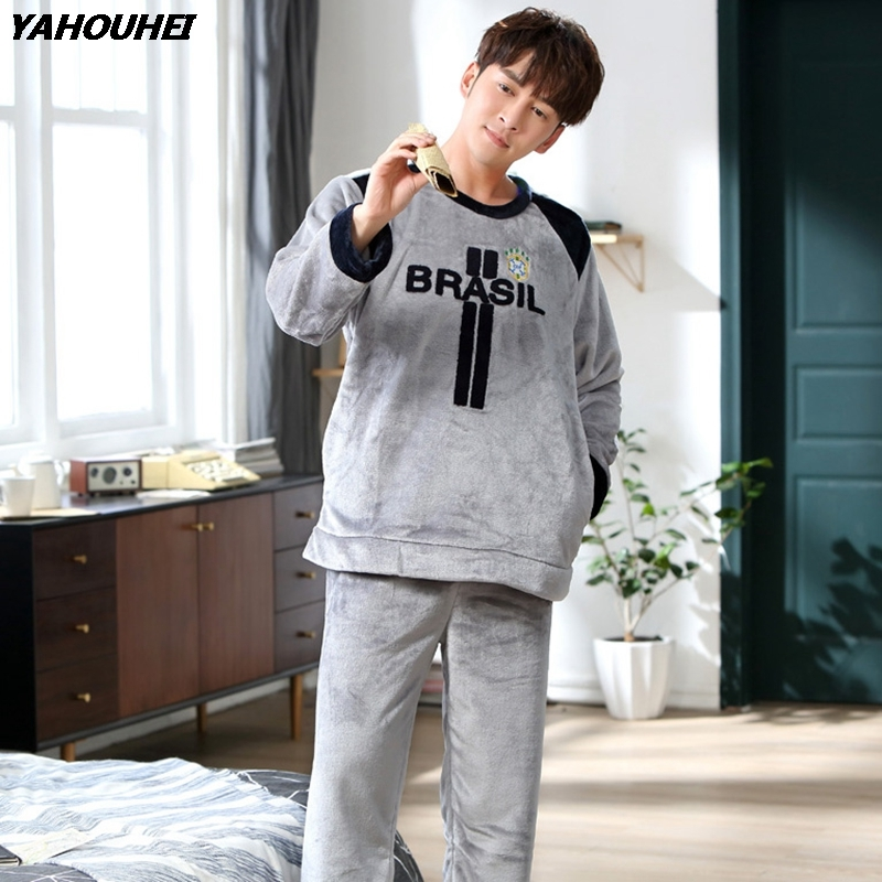 Thick Warm Flannel Pajamas Sets For Men 2018 Winter Long Sleeve Coral Velvet Pyjamas Male Sleepwear Homewear Lounge Home Clothes