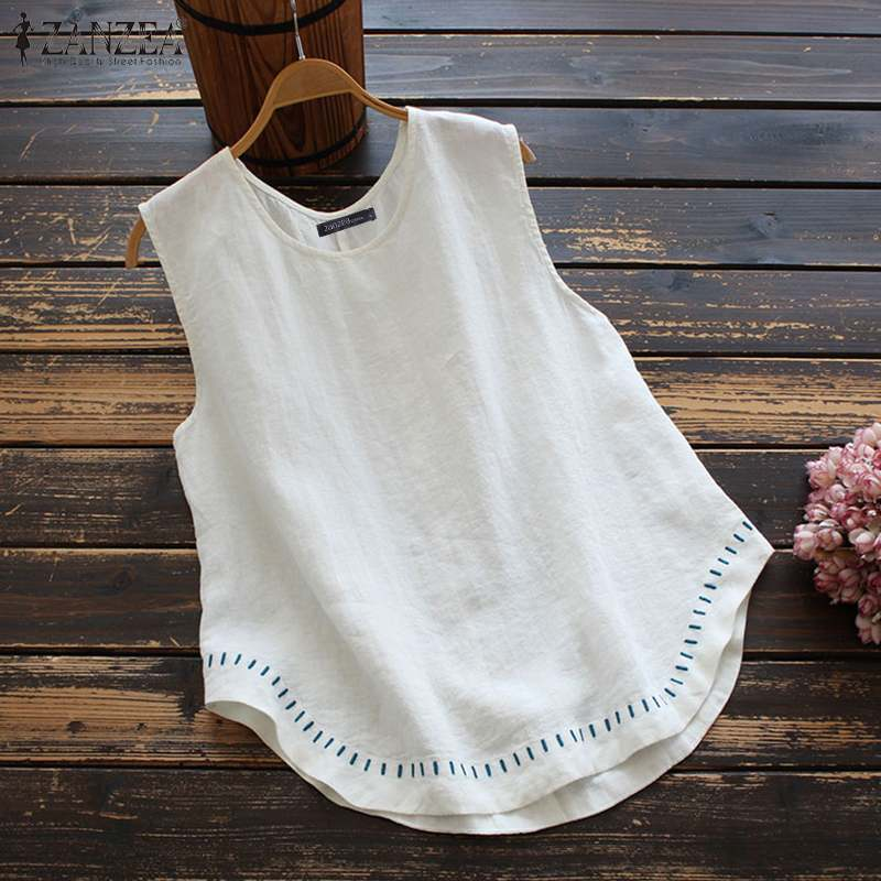 ZANZEA Women Irregular Hem Blouse Summer Sleeveless Tanks Tops Embroidery O Neck Cotton Tops Tunic Casual Loose Solid Blusas 5XL