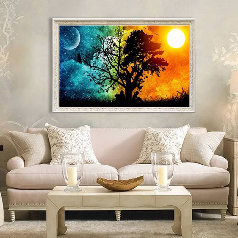 Sunset 5D Full Drill Diamond Painting Kits Diamond Dotz Landscape House Village Arts Crafts Wall Decor 12x16inch in Diamond Painting Cross Stitch from Home Garden