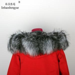 Image 5 - Linhaoshengyue חדש סגנון ארנב פרווה בטנת בגדי נשים 90cm ארוך עם פרוות שועל דלת שליטה