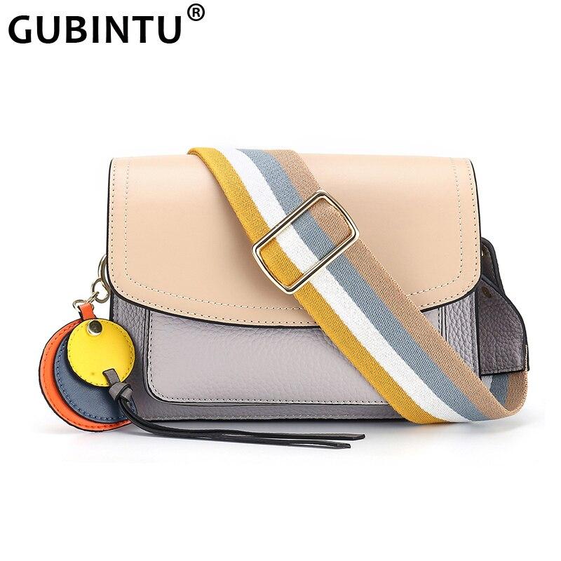 Fashion Retro Wide Straps Genuine Leather Shoulder Bag For Women Small Square Flap Bag Female Crossbody Bag Exquisite All-match