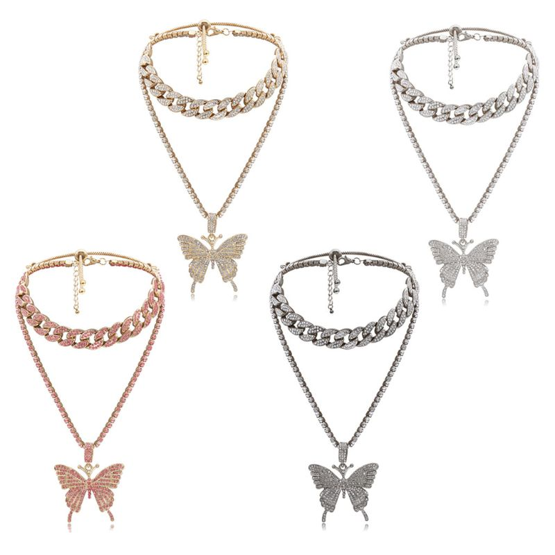 2Pcs Sparking Fully Iced Out Crystal Pave Butterfly Pendant Necklace Cubic Zircon 3D Butterfly Pendant Necklace Fashion Jewelry