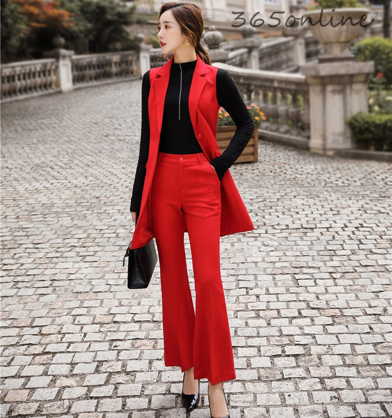 Formal OL Styles Women Business Suits With Pants And Vest & Waistcoat Novelty Red Professional Ladies Office Pantsuits Blazers