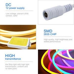 Image 5 - LED Streifen Flexible Neon Licht 12V Wasserdicht Luces Led Band Seil Dimmen Flex Rohr Band Zimmer Warm Weiß Gelb rot Grün Blau