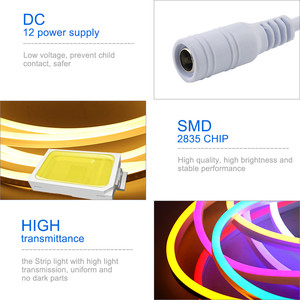 Image 5 - LED Strip Flexible Neon Light 12V Waterproof Luces Led Ribbon Rope Dimming Flex Tube Tape Room Warm White Yellow Red Green Blue