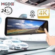 Hgdo 12 4 4k 3840 × 2160p carro dvr gravador de vídeo sony imx415 câmera espelho retrovisor 1080p câmera traseira traço cam gps 24h monitor