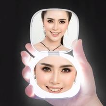 Портативный светодиодный зеркало ручной светильник зеркало 5 раз лупа 5X увеличительное зеркало для макияжа наружный светильник ночного ос...