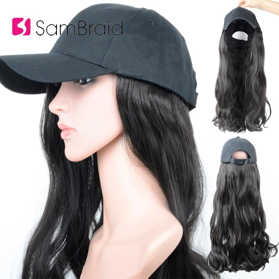 Sambraid 18 дюймов синтетический парик кепки Регулируемая бейсбольная шляпа для женщин длинные волны Наращивание волос