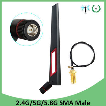 2pcs 2.4GHz 5GHz 5.8Ghz Antenna real 8dBi SMA Male Connector Dual Band wifi Antena + 21cm RP-SMA Male Pigtail Cable