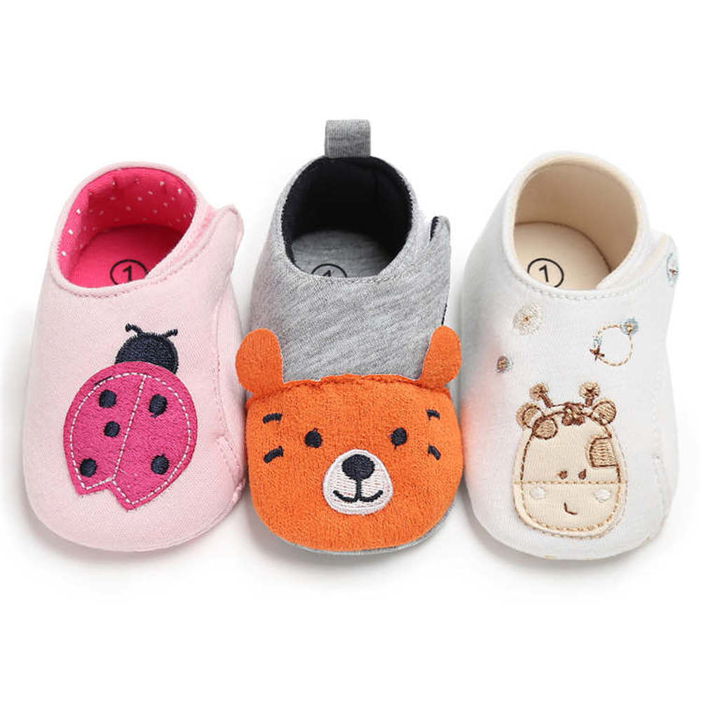 Newborn Crib Shoes Baby Girl Boy Infant Lovely Animal Print Soft Cotton Easy On&off First Walkers Toddler Girl Moccasins Shoes