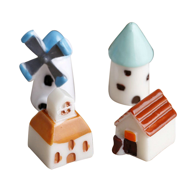 4PCS/set Mini Resin Church Castle Windmill Shed Cabin House Fairy Garden Miniature Craft Mini Cottage Landscape Decoration