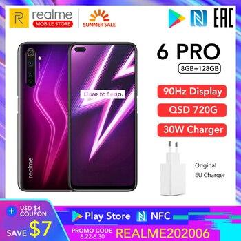 Купить Realme 6 Pro 6pro 8 ГБ ОЗУ 128 Гб ПЗУ глобальная Версия Мобильный телефон Snapdragon 720G 30 Вт флеш-зарядка 64 мп камера EU вилка NFCellphone