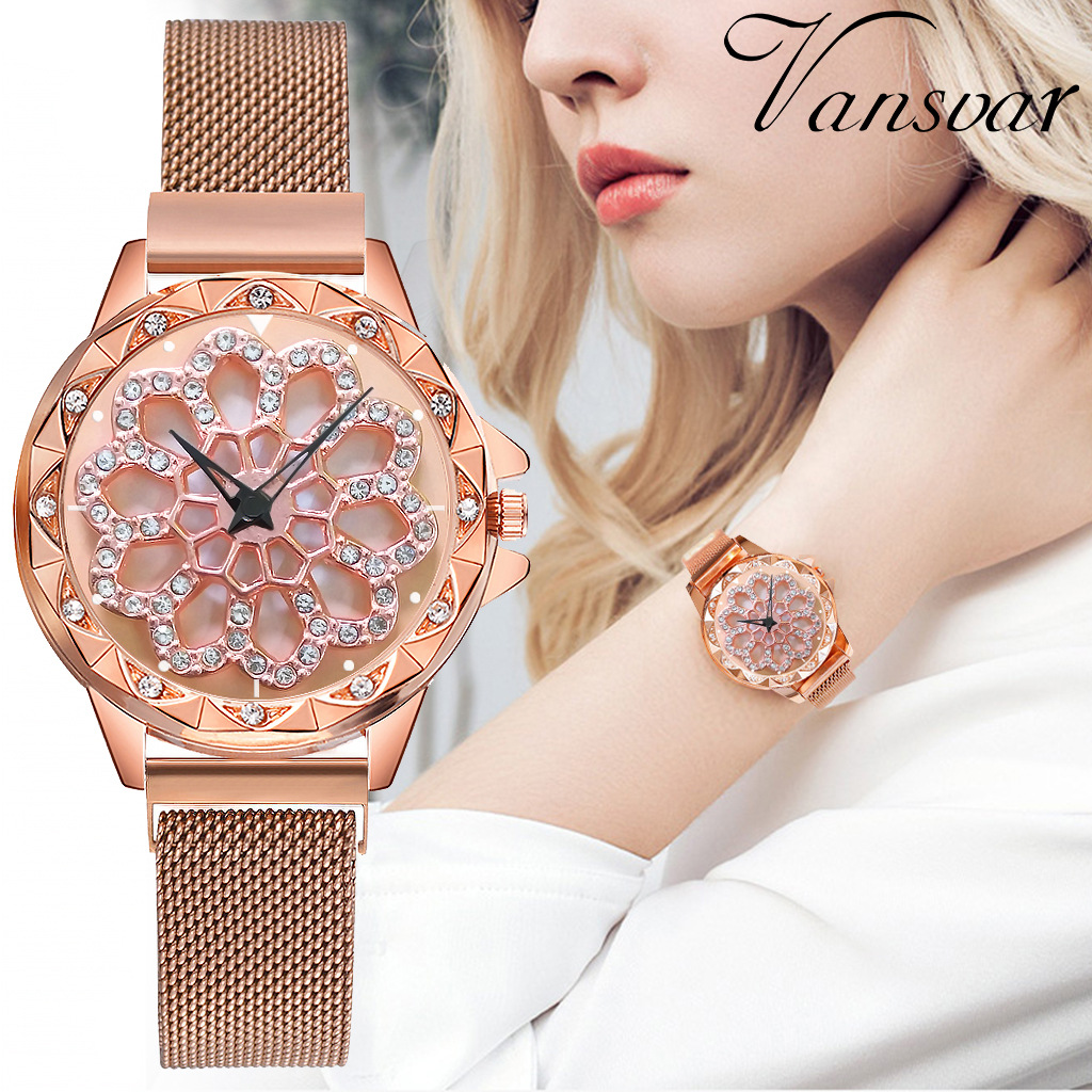 Luxury Rose Gold Watch Women Magnetic 360 Degree Rotation Quartz Wrist Watches For Women's Ladies Watch Clock Zegarek Damski