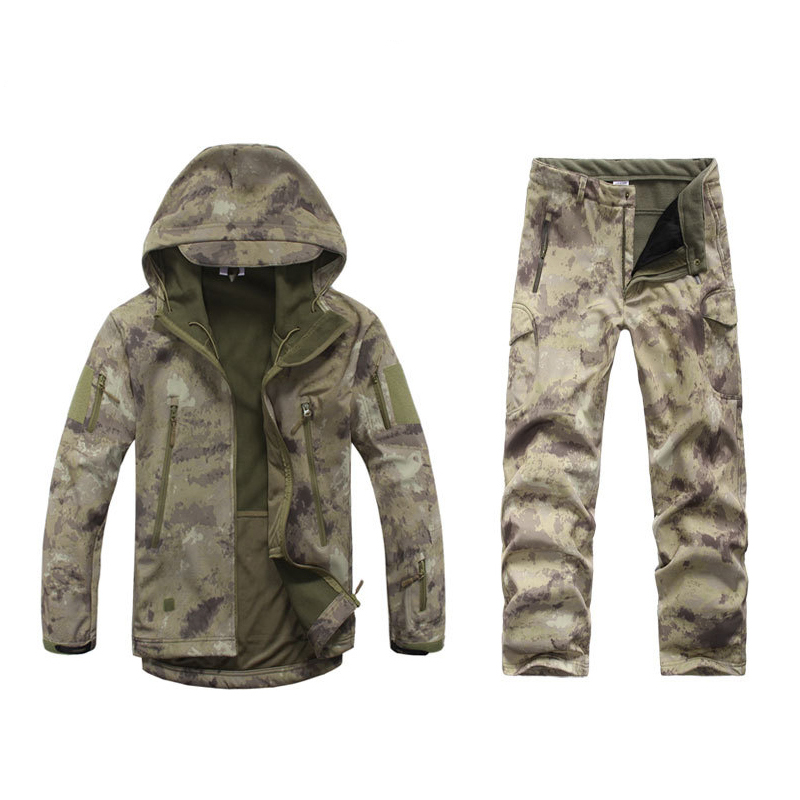 ATACS Men's Soft Shell Military Tactical Jacket Outdoor Camouflage Hunting Fleece Hooded Coat