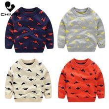 Kids Children Pullover Sweater Autumn Winter Boys Girls Dinosaur Cartoon Print O-neck Knitted Sweaters Tops Clothing for 3-8T