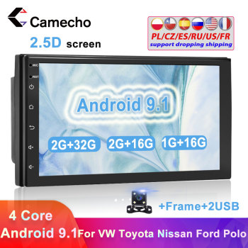 Camecho 2Din Android Car Radio GPS Multimedia Player Universal Autoradio For Volkswagen Nissan Hyundai Kia toyota Polo Passat b6 image