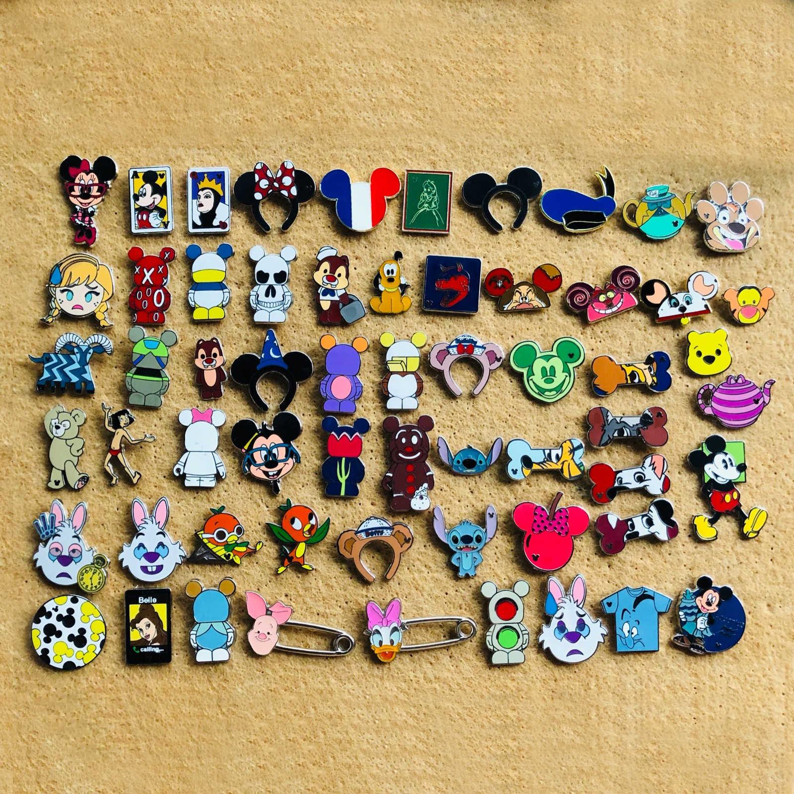 20 pçs disney troca emblema crianças adulto vestuário decorativo distintivo com pinos de cordão para mochila kawaii emblemas para roupas