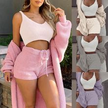 3 Pcs/set Winter Sexy Women Home Wear Suit Casual Pajamas Set Lady Female Soft Warm Long Sleeve Exposed Navel Vest Shorts Set